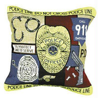 Police Officer Throw Pillow - One-sided Design
