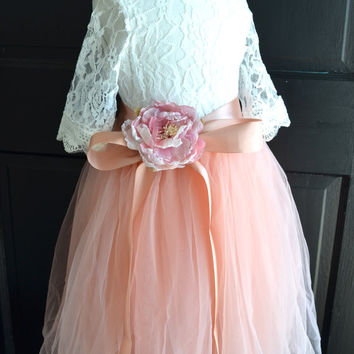 Flower girl Coral  Tutu dress, Blush Pink Long Tulle Skirt lace blouse, Blush Pink Coral Tutu, Girls Coral Tutu, Flower girl dress