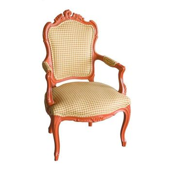 Pre-owned Orange Houndstooth Louis XVI Style Arm Chair