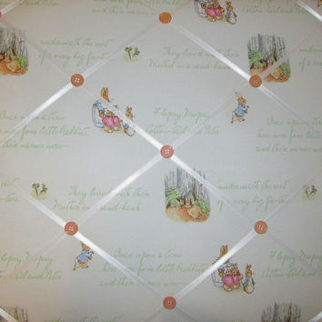 ON SALE Fabric French Message Board Memos Photo Kids PETER Rabbit  handmade with Pottery Barn Kids fabric