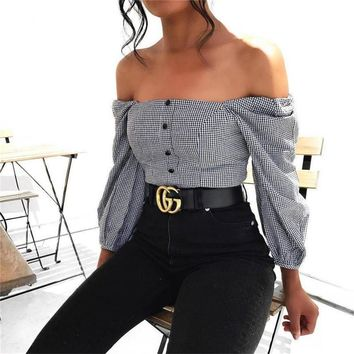 2018 Women's Shoulder Long Sleeve Plaid T-shirt