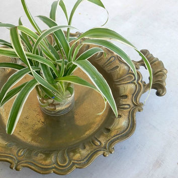 Round Tray with Handles, Vintage Brass Bowl Art Nouveau Dining Room Decor Jungalow Style, Wedding Center Piece for Table 2017