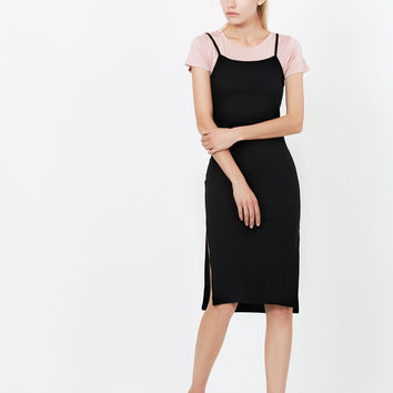 LE3NO Womens Stretchy Ribbed Short Sleeve Bodycon Midi Slip Dress with Side Slit (CLEARANCE)