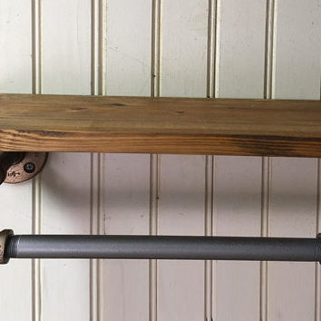 "Industrial Style iron pipe paper towel holder with 16"" Hardwood Wooden Shelf - Kitchen Accessory - industrial paper towel holder"