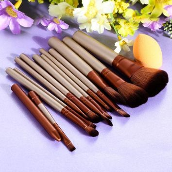 DCCKHY9 12Pcs Pro Makeup Brush Set Powder Sponge Puff Cosmetic Brush Eyeshadow Lip Foundation Brush Pincel Maquiagem Make Up Brushes