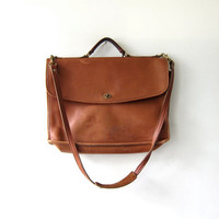 Vintage Jack Georges Brown Leather Briefcase Laptop shoulder bag