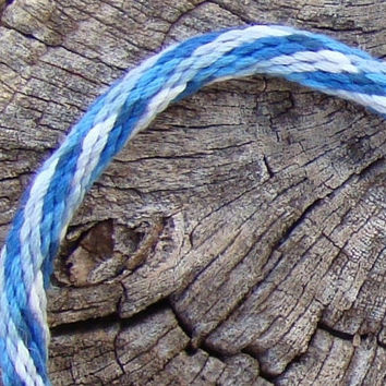 Blue plaid pattern unisex kumihimo bracelet with stainless steel magnetic clasp
