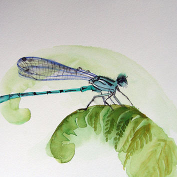 Turquoise Blue Dragonfly  painting, original watercolor, Libelle painting, dragonfly drawing, green, blue, white wall decor, natural history