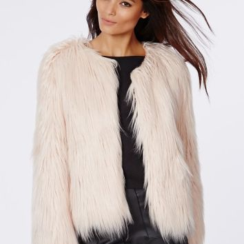 Missguided - Cassie Shaggy Faux Fur Coat Nude
