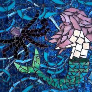 Mosaic Art Mermaid w/ Stained Glass Octopus. Ocean Wall Art, Beach Home Decor.