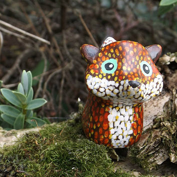 Fox Totem, Polymer Clay Animal Figure, Woodland Creature, Handmade