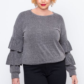 Plus Size Glam Ruffle Top - Grey