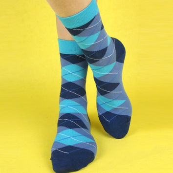 Blue Socks. Blue Argyle Socks. Mens Socks. Blue Dress Socks. Mens Diamond Socks. Mens Blue Socks. Handmade Socks. Blue Diamond Socks. Socks