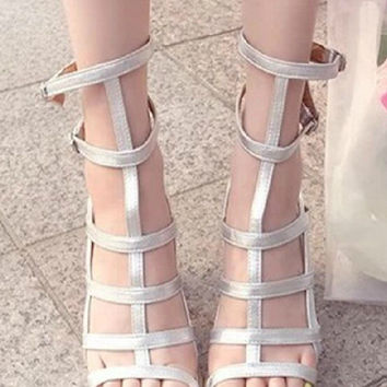 Black Silver Open Toe Strappy Chunky High Heel Tall Gladiator Sandals Ankle Summer Boots Women's Beach Shoes 2014 New Fashion