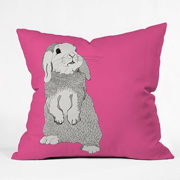 Casey Rogers Rabbit Throw Pillow