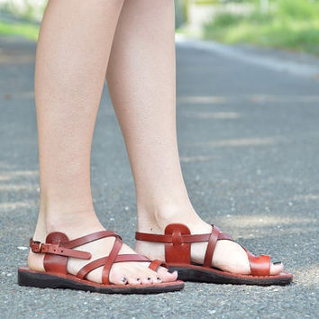 Jesus sandals camel leather sandal from the holy land of Jerusalem brown classic woman shoes