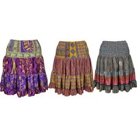 Mogul Womens Skirt Vintage Recycled Full Flare Boho Hippie Gypsy Printed Knee Length Skirts Wholesale Lots Of 3 - Walmart.com
