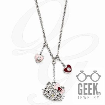 Hello Kitty Sterling Silver Swarovski Gold-Tone Nose Enamel Dangle Necklace