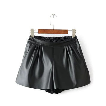 Summer Women's Fashion PU Leather Pants Shorts [4920275012]