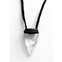 Clear Raw Crystal Quartz Arrowhead Leather Wrap Necklace. Deerskin Wrapped Quartz Crystal Necklace