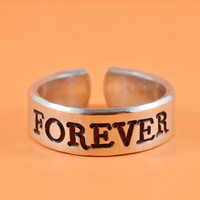 [♡068] FOREVER - Hand Stamped Aluminum Ring, BFF gift