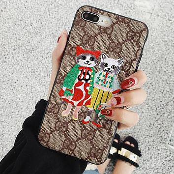 """Hot Sale """"GUCCI"""" Popular Cute Cat Embroidery Pattern Silicone Soft Mobile Phone Cover Case For iphone 6 6s 6plus 6s-plus 7 7plus iPhone8 iPhone X I13405-1"""