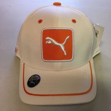 PUMA YOUTH CAT PATCH RELAX FIT ADJUSTABLE HAT/CAP OSFA - WHIT/ORANGE