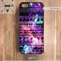 Galaxy iPhone 5 Case, iPhone 4 Case, Aztec iPhone 4S Case, Tribal iPhone Case, Silicone Rubber Case, Plastic iPhone Case