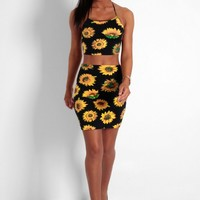 Camellia Black Sunflower Print Midi Skirt | Pink Boutique