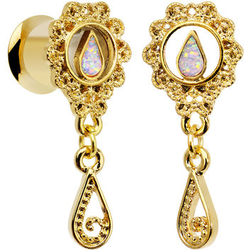 0 Gauge White Faux Opal Gold Anodized Ornate Dangle Tunnel Plug Set