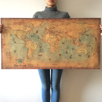Large retro World Map Kraft Paper Paint vintage Wall Sticker Poster Living Room Art Crafts Maps bar cafe Pub Home Decor 100x50cm