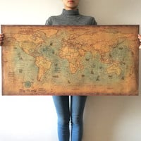 Large Vintage World Map Kraft Paper Paint Retro Wall Sticker Poster Living Room Art Crafts Maps bar cafe Pub Home Decor 100x50cm