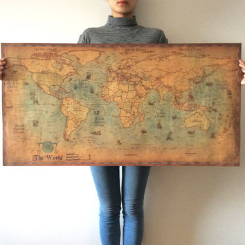 Vintage poster World Map Kraft Paper Paint Retro Wall Sticker