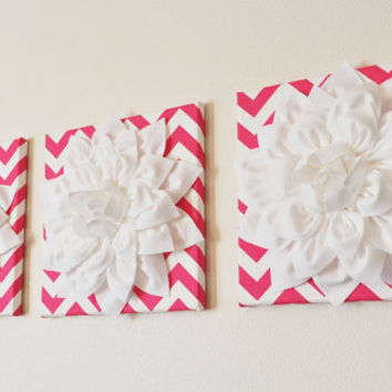 "Hot Pink and White Wall Art -SET OF THREE White Dahlias on Candy Pink and White Chevron 12 x12"" Canvas Wall Art- Home Decor"