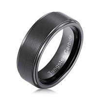 8mm Black Plated Mens Tungsten Carbide Ring Step Edge and Brushed Center