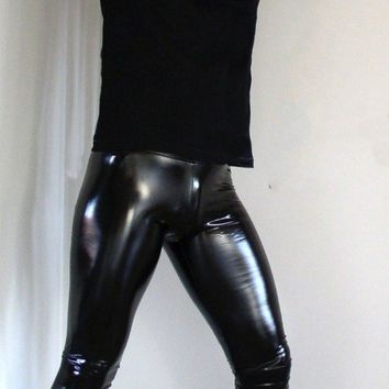 Hot Sexy Men PVC Stage Dance Wear Faux Leather Pencil Pants Skinny Pants Legging Gay Club Dance Wear FX1090