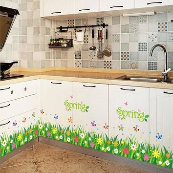 % flower grass butterfly PVC Wall Stickers Skirting kids living Room bedroom Bathroom Kitchen nursery balcony home decor mural