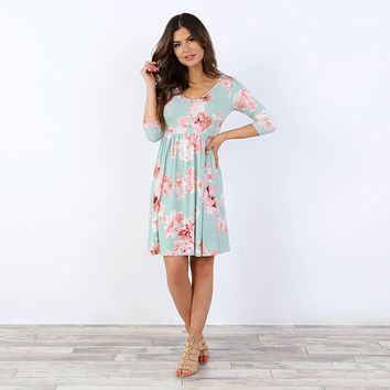 Kira Button Floral Dress