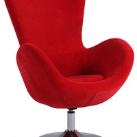 Red Modern Swivel Arm Fun Chair