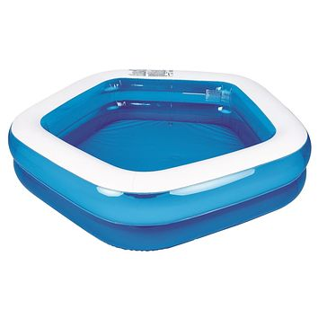 """79"""" Blue and White Pentagon Inspired Inflatable Swimming Pool"""
