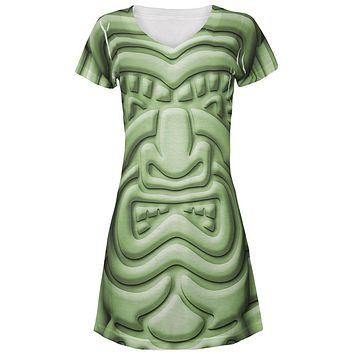 Tiki God Green Face Luau All Over Juniors Beach Cover-Up Dress