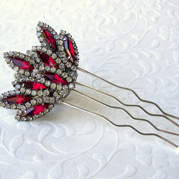 Fire and Ice Valentines Wedding Red Rhinestone Hair Comb Jeweled Hairpiece Vintage Bride Headpiece Formal Pageant Ballroom Jewelry Accessory