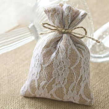Lace Burlap Gift Bags 10x15cm (4'x6') Hessian Drawstring Pouches Rustic Wedding Party Favor Holders