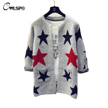 CWLSP Fashion Long Sleeve Sweater Cardigan 2017 Spring Star Letter Knitted O-neck Plaid Sweater Casual Outerwear Jumper QZ1755