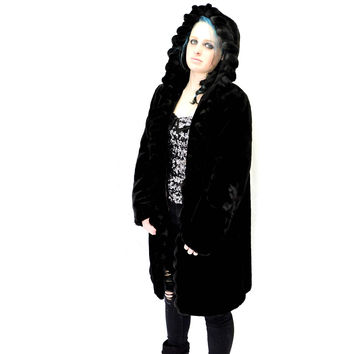 Black Faux fur coat / size S / vintage 80s long black mink faux fur coat / hooded faux seal coat / black fake fur coat / SunnyBohoVintage