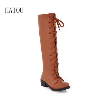 new Sexy Women Motorcycle Boots Autumn Knee High Boots Punk Gothic Platform Lace Up Creeper Shoes winter round shoes 34-43