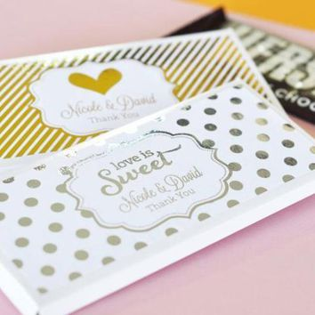 Personalized Metallic Foil Candy Wrapper Covers - Wedding (Set of 24)