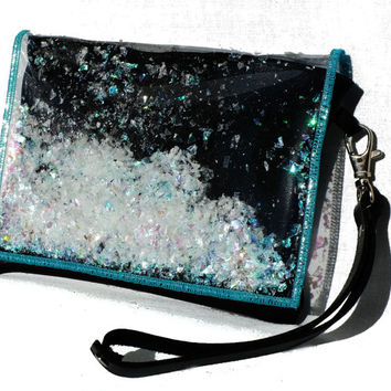 Black Glitter Clutch Purse Black Leather Wristlet Clutch Iridescent Bag in Unicorn