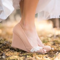 Wedding Shoes -  Nude Peep-Toe Wedge, Nude Wedding Heels, Nude Wedges with Ivory Lace. US size 8