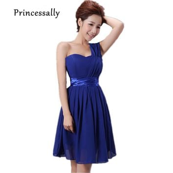 Royal Blue Bridesmaid Dresses Chiffon Short One Shoulder With Shining Waist Band Cheap Cute Prom Party Formal Gown Under 30